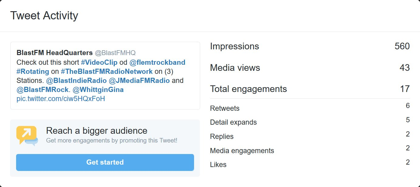 "BlastFM HeadQuarters on Twitter: ""#Congratulations Guys & Dolls at: @flemtrockband & @WhittginGina our #tweet of your #Videoclip reached over 560 #Impressions in one day.… https://t.co/xct6guqLa7"""