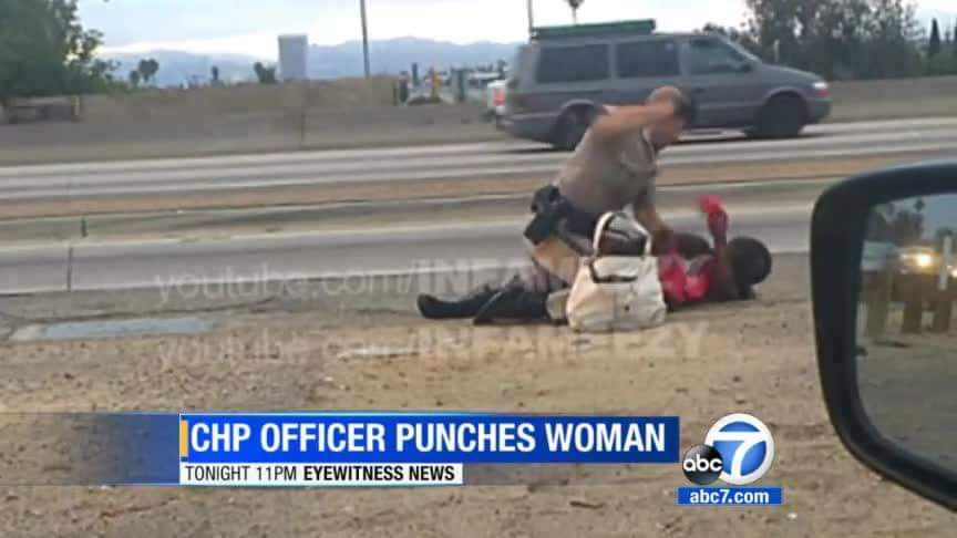 Punched on the side of the freeway. A #CHP officer strikes a woman repeatedly as horrified drivers look on.  One of those drivers recorded the entire ordeal and gave his video to Eyewitness News.  So were the officer's actions a justified use of force? Or was it police brutality?     Tonight - the eyewitness behind the camera speaks out about the violent incident only to Eyewitness News. Tonight at 11 from ABC7 and on WATCH ABC http://abc7.com/apps/